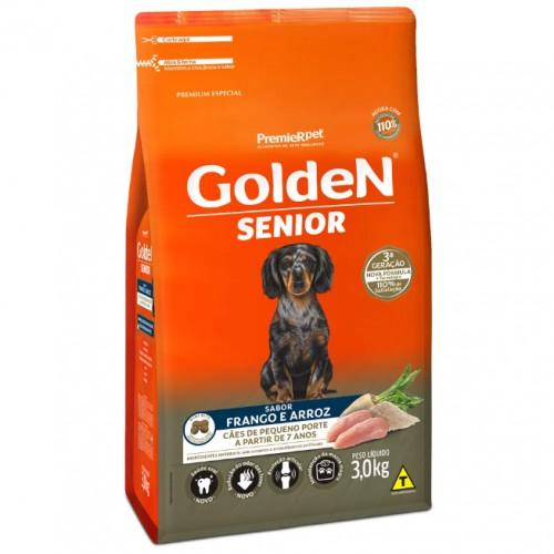 Ração para Cães Sênior Raças Pequenas Golden Fórmula Frango e Arroz 3kg